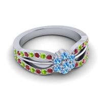 Simple Floral Pave Kalikda Swiss Blue Topaz Ring with Peridot and Ruby in 14k White Gold