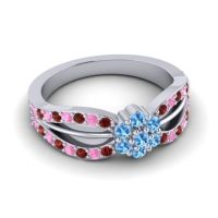 Simple Floral Pave Kalikda Swiss Blue Topaz Ring with Pink Tourmaline and Garnet in Platinum
