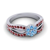 Simple Floral Pave Kalikda Swiss Blue Topaz Ring with Ruby and Garnet in Platinum