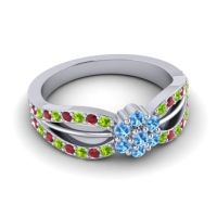 Simple Floral Pave Kalikda Swiss Blue Topaz Ring with Ruby and Peridot in 14k White Gold