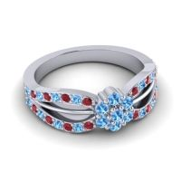 Simple Floral Pave Kalikda Swiss Blue Topaz Ring with Ruby in 14k White Gold