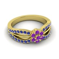 Simple Floral Pave Kalikda Amethyst Ring with Blue Sapphire in 18k Yellow Gold