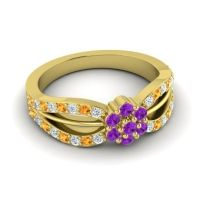 Simple Floral Pave Kalikda Amethyst Ring with Citrine and Diamond in 18k Yellow Gold