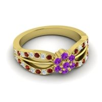 Simple Floral Pave Kalikda Amethyst Ring with Diamond and Garnet in 14k Yellow Gold
