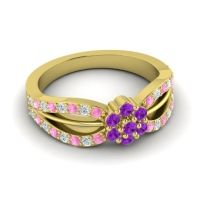 Simple Floral Pave Kalikda Amethyst Ring with Diamond and Pink Tourmaline in 14k Yellow Gold