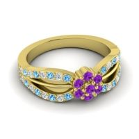 Simple Floral Pave Kalikda Amethyst Ring with Diamond and Swiss Blue Topaz in 18k Yellow Gold