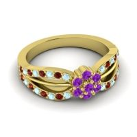 Simple Floral Pave Kalikda Amethyst Ring with Garnet and Aquamarine in 14k Yellow Gold