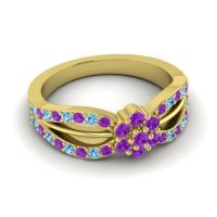 Simple Floral Pave Kalikda Amethyst Ring with Swiss Blue Topaz in 18k Yellow Gold