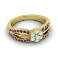 Simple Floral Pave Kalikda Aquamarine Ring with Blue Sapphire and Ruby in 14k Yellow Gold