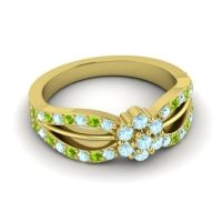 Simple Floral Pave Kalikda Aquamarine Ring with Peridot in 14k Yellow Gold