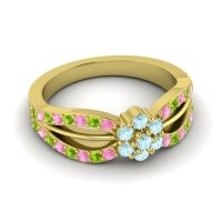 Simple Floral Pave Kalikda Aquamarine Ring with Peridot and Pink Tourmaline in 14k Yellow Gold