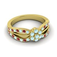 Simple Floral Pave Kalikda Aquamarine Ring with Ruby in 18k Yellow Gold