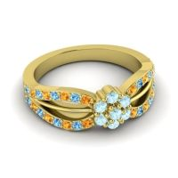 Simple Floral Pave Kalikda Aquamarine Ring with Swiss Blue Topaz and Citrine in 18k Yellow Gold