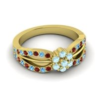 Simple Floral Pave Kalikda Aquamarine Ring with Swiss Blue Topaz and Garnet in 14k Yellow Gold