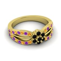 Simple Floral Pave Kalikda Black Onyx Ring with Amethyst and Citrine in 14k Yellow Gold