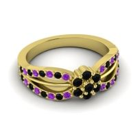 Simple Floral Pave Kalikda Black Onyx Ring with Amethyst in 18k Yellow Gold