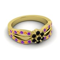 Simple Floral Pave Kalikda Black Onyx Ring with Citrine and Amethyst in 14k Yellow Gold