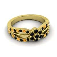Simple Floral Pave Kalikda Black Onyx Ring with Citrine in 18k Yellow Gold