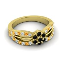 Simple Floral Pave Kalikda Black Onyx Ring with Citrine and Diamond in 14k Yellow Gold