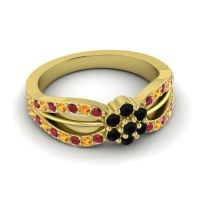 Simple Floral Pave Kalikda Black Onyx Ring with Citrine and Ruby in 18k Yellow Gold