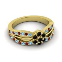 Simple Floral Pave Kalikda Black Onyx Ring with Garnet and Swiss Blue Topaz in 14k Yellow Gold