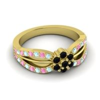 Simple Floral Pave Kalikda Black Onyx Ring with Pink Tourmaline and Aquamarine in 14k Yellow Gold