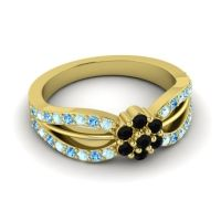 Simple Floral Pave Kalikda Black Onyx Ring with Swiss Blue Topaz and Aquamarine in 18k Yellow Gold