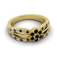Simple Floral Pave Kalikda Black Onyx Ring with Swiss Blue Topaz and Garnet in 18k Yellow Gold