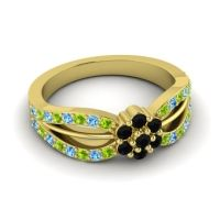 Simple Floral Pave Kalikda Black Onyx Ring with Swiss Blue Topaz and Peridot in 18k Yellow Gold