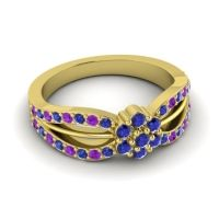 Simple Floral Pave Kalikda Blue Sapphire Ring with Amethyst in 14k Yellow Gold