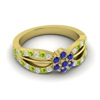 Simple Floral Pave Kalikda Blue Sapphire Ring with Peridot and Diamond in 18k Yellow Gold