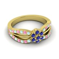 Simple Floral Pave Kalikda Blue Sapphire Ring with Pink Tourmaline and Aquamarine in 18k Yellow Gold