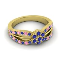 Simple Floral Pave Kalikda Blue Sapphire Ring with Pink Tourmaline in 18k Yellow Gold