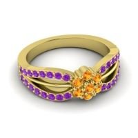 Simple Floral Pave Kalikda Citrine Ring with Amethyst in 18k Yellow Gold