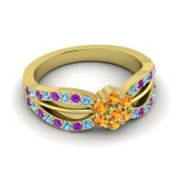 Simple Floral Pave Kalikda Citrine Ring with Amethyst and Swiss Blue Topaz in 14k Yellow Gold