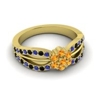 Simple Floral Pave Kalikda Citrine Ring with Black Onyx and Blue Sapphire in 18k Yellow Gold