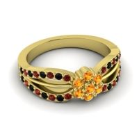 Simple Floral Pave Kalikda Citrine Ring with Black Onyx and Garnet in 18k Yellow Gold