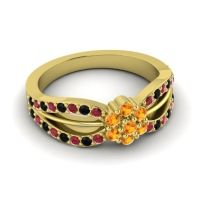 Simple Floral Pave Kalikda Citrine Ring with Black Onyx and Ruby in 18k Yellow Gold