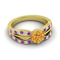 Simple Floral Pave Kalikda Citrine Ring with Diamond and Amethyst in 18k Yellow Gold