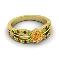 Simple Floral Pave Kalikda Citrine Ring with Garnet and Peridot in 14k Yellow Gold