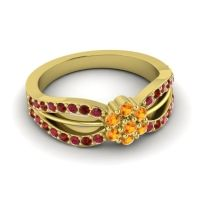 Simple Floral Pave Kalikda Citrine Ring with Garnet and Ruby in 14k Yellow Gold