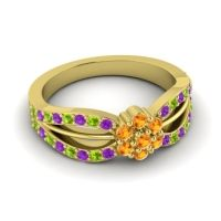 Simple Floral Pave Kalikda Citrine Ring with Peridot and Amethyst in 14k Yellow Gold