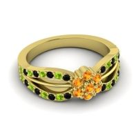 Simple Floral Pave Kalikda Citrine Ring with Peridot and Black Onyx in 18k Yellow Gold
