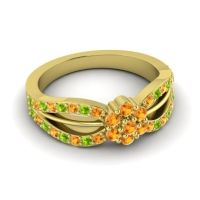Simple Floral Pave Kalikda Citrine Ring with Peridot in 18k Yellow Gold