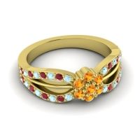Simple Floral Pave Kalikda Citrine Ring with Ruby and Aquamarine in 18k Yellow Gold