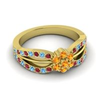 Simple Floral Pave Kalikda Citrine Ring with Swiss Blue Topaz and Ruby in 18k Yellow Gold