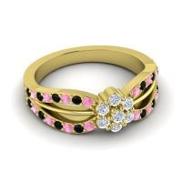 Simple Floral Pave Kalikda Diamond Ring with Black Onyx and Pink Tourmaline in 18k Yellow Gold