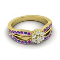 Simple Floral Pave Kalikda Diamond Ring with Blue Sapphire and Amethyst in 14k Yellow Gold