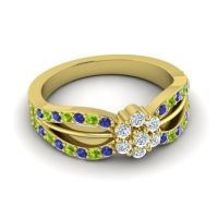 Simple Floral Pave Kalikda Diamond Ring with Peridot and Blue Sapphire in 14k Yellow Gold