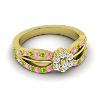 Simple Floral Pave Kalikda Diamond Ring with Peridot and Pink Tourmaline in 18k Yellow Gold